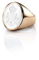 Siegelring signet ring Oval Rosé weiss